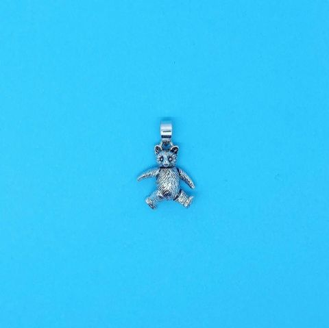 Genuine 925 Sterling Silver Teddy Bear Charm with moveable arms and legs